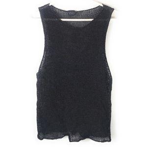 VTG Krizia Maglia Black Open Knit Sleeveless Top
